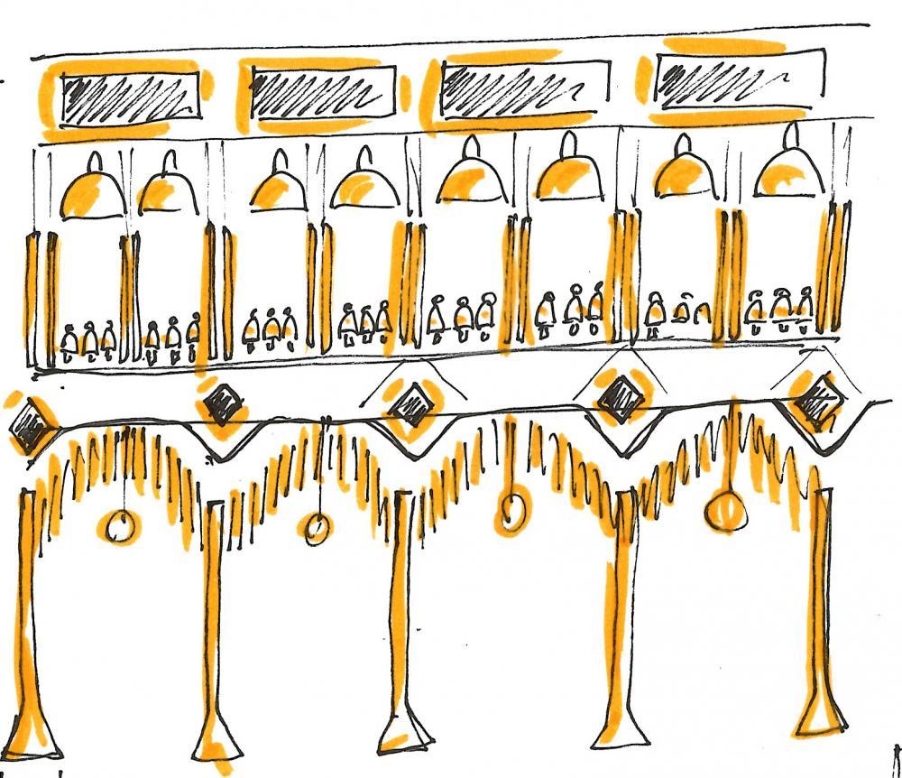 Designed by Luca Nichetto in collaboration with Studio Italia Design, the lighting installation at Ventura Centrale is inspired by Italy's most iconic piazzas. Image credits: Luca Nichetto for Studio Italia Design